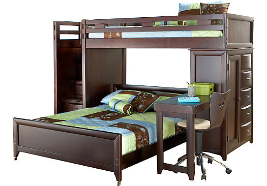 Ivy League Cherry Twin Full Step Loft Bunk With Chest And Desk In