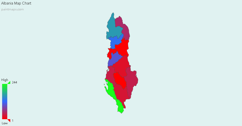 Create Custom Albania Map Chart with Online, Free Map Maker  Color
