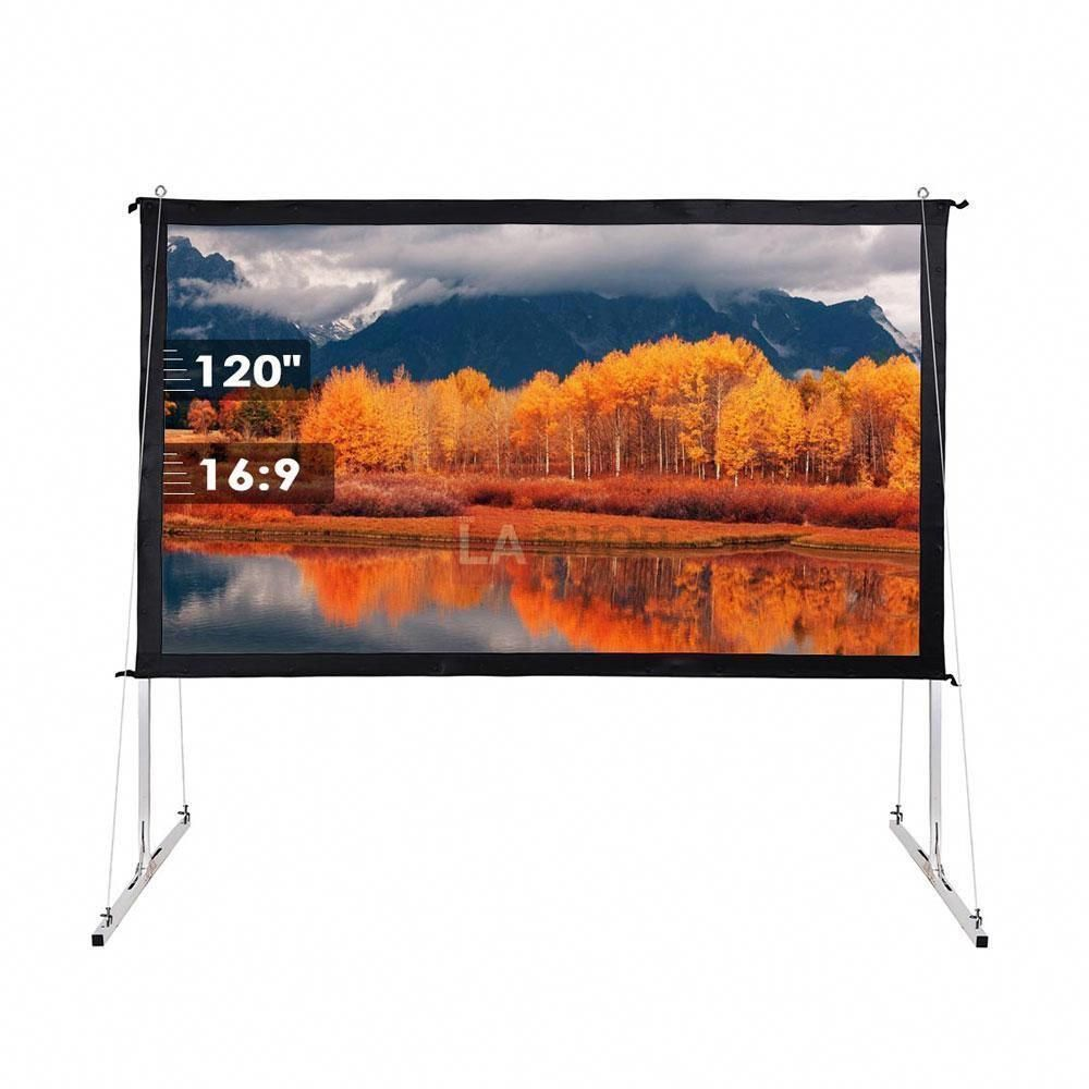 100 120 135 Opt 16 9 Portable Projector Screen Free Stand W Legs Portableprojectorscreen Projectorsc Home Theater Projector Screen Projector Screen Stand