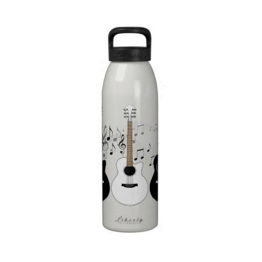 Black and White Guitars Pop Art Water Bottle