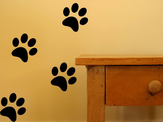 Dog Paw Print Decal Wall Decor - Set of 32 Dog Paw Print Vinyl Wall ...