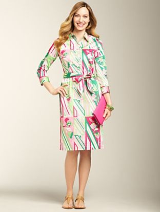 Talbots - Geo-Floral Shirtdress | | Misses Discover your new look at Talbots. Shop our Geo-Floral Shirtdress for stylish clothing and accessories with a modern twist at Talbots