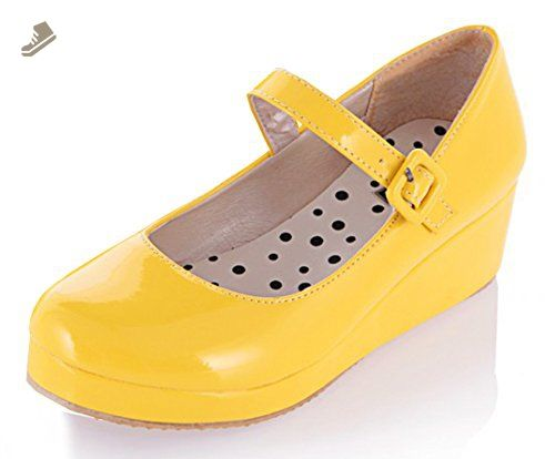 Sfnld Women's Cute Closed Toe Thick Sole Wedge Heel Mary Jane Pumps Shoes Yellow 4 B(M) US - Sfnld pumps for women (*Amazon Partner-Link)