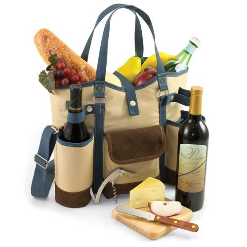 """Picnic Time """"Wine Country"""" Wine and Cheese Tote  This wine and cheese tote is the perfect gift for those who love the outdoors."""