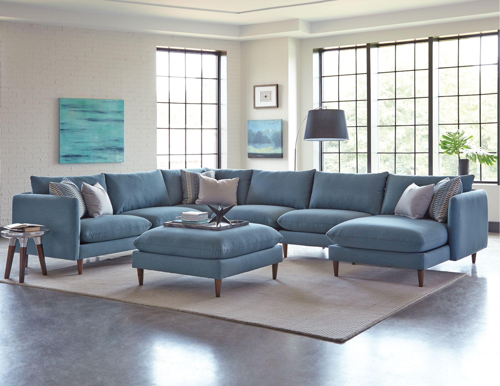 Melbourne Blue Upholstered 6 Piece Casual Modern Sectional Modern Furniture Living Room Turquoise Living Room Decor Home