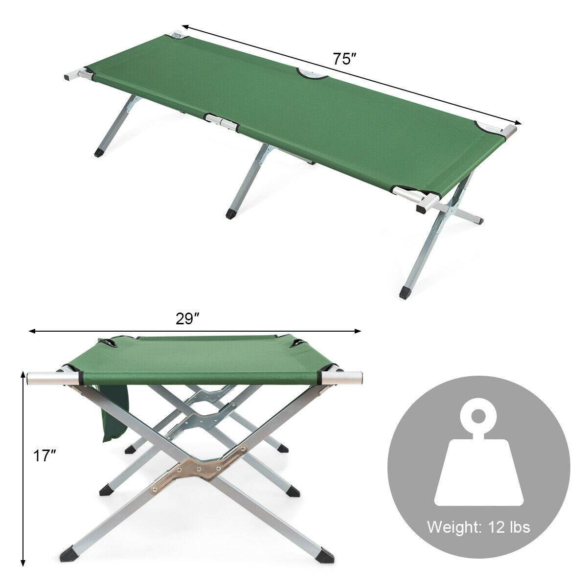 - Folding Camping Cot Heavy-duty Camp Bed With Carry Bag Camping
