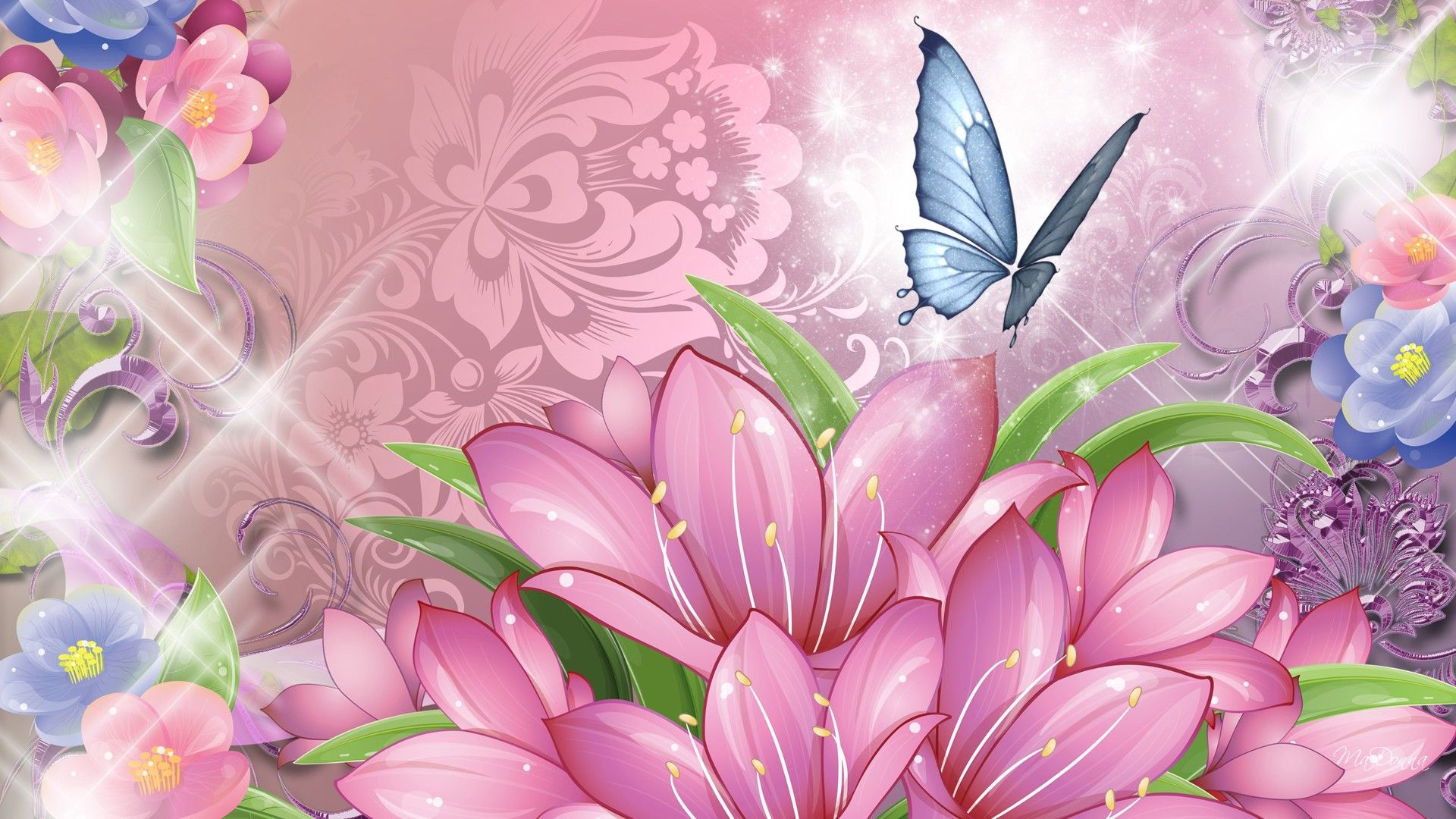 Beautiful Pink Flowers Wallpaper Flower Wallpaper Butterfly