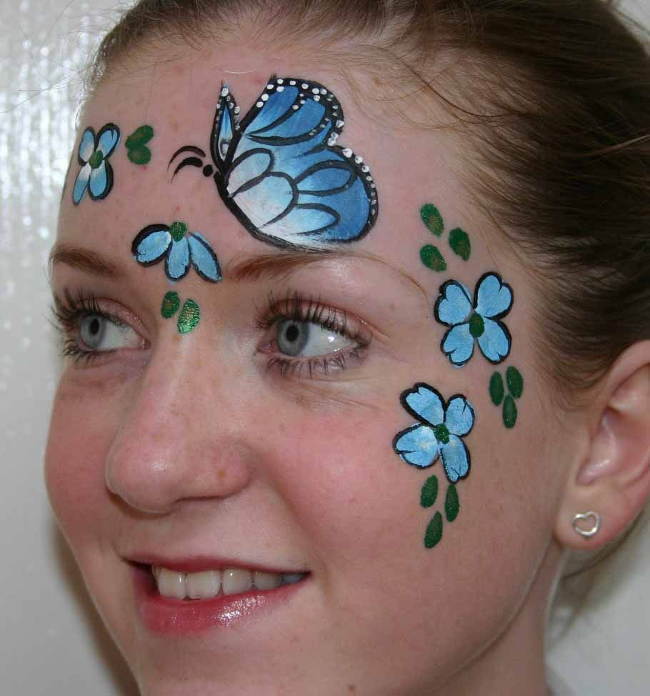 one stroke face painting | beautiful-butterfly-with-flowers-face ... for Butterfly Painting Designs  45hul