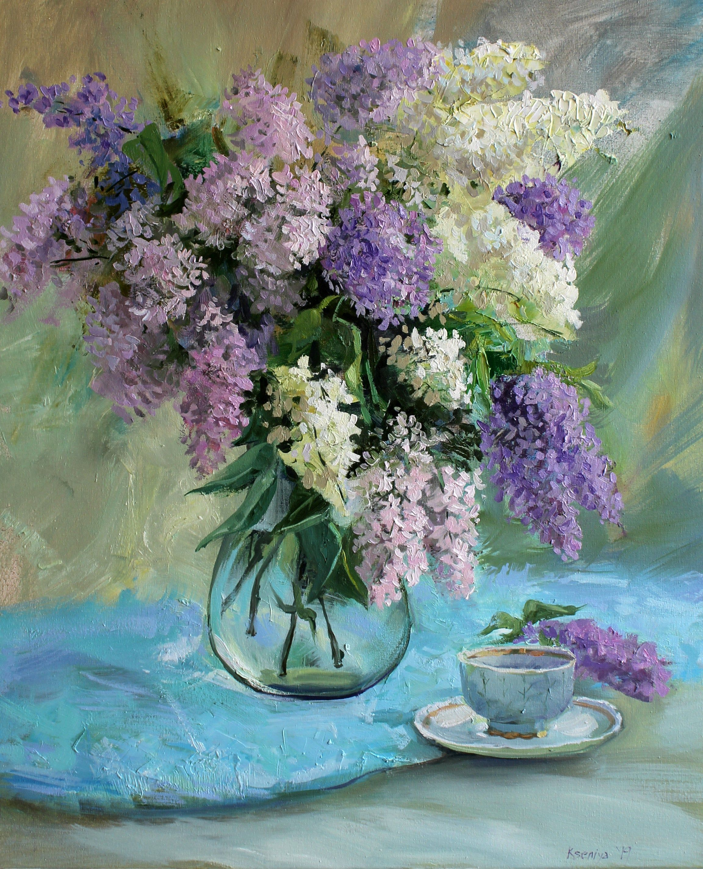 White lilac Original oil painting Flowers Still life cup