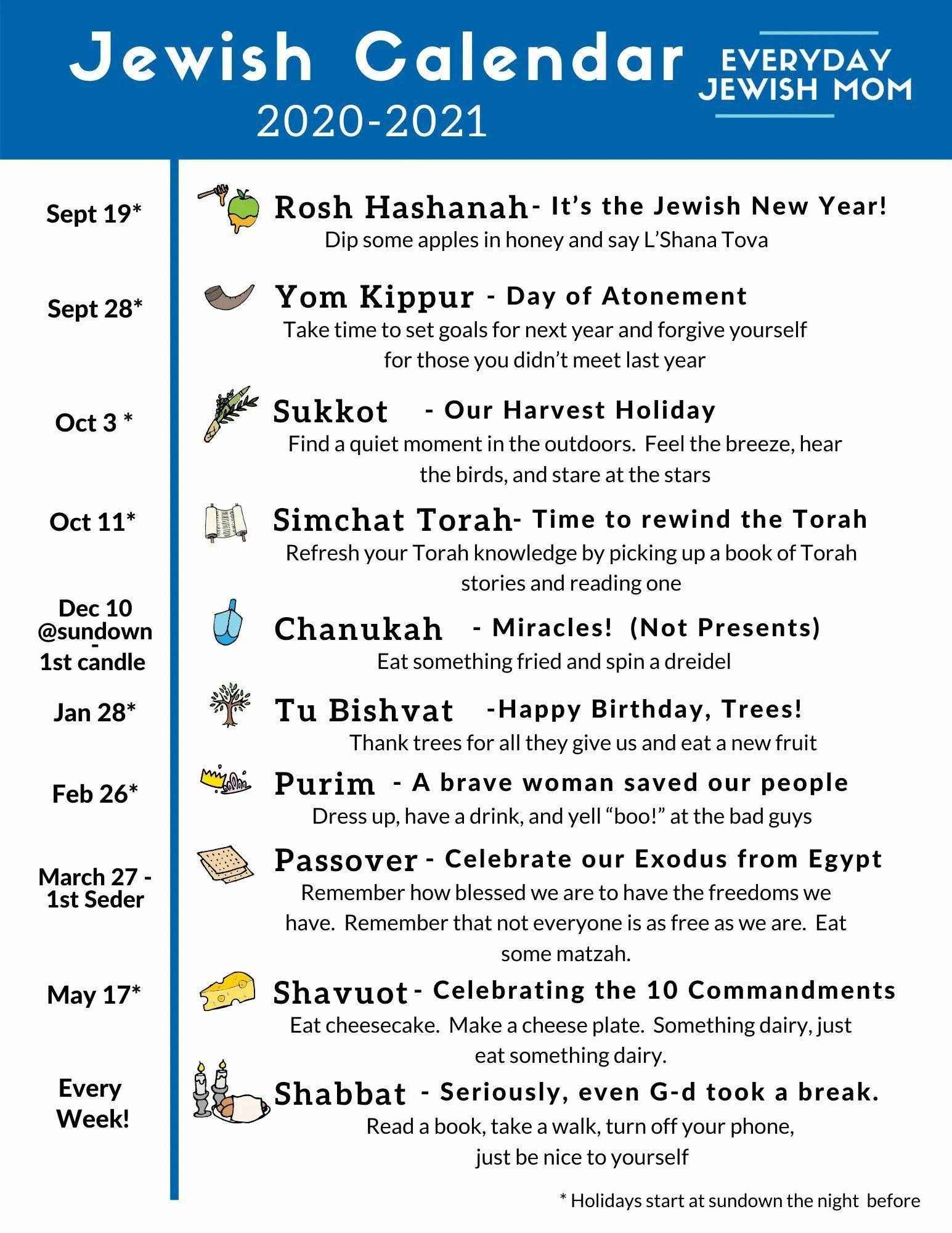 Jewish Calendar 2020 2021 Free Download Everyday Jewish Mom Jewish Calendar Jewish Beliefs Jewish Moms
