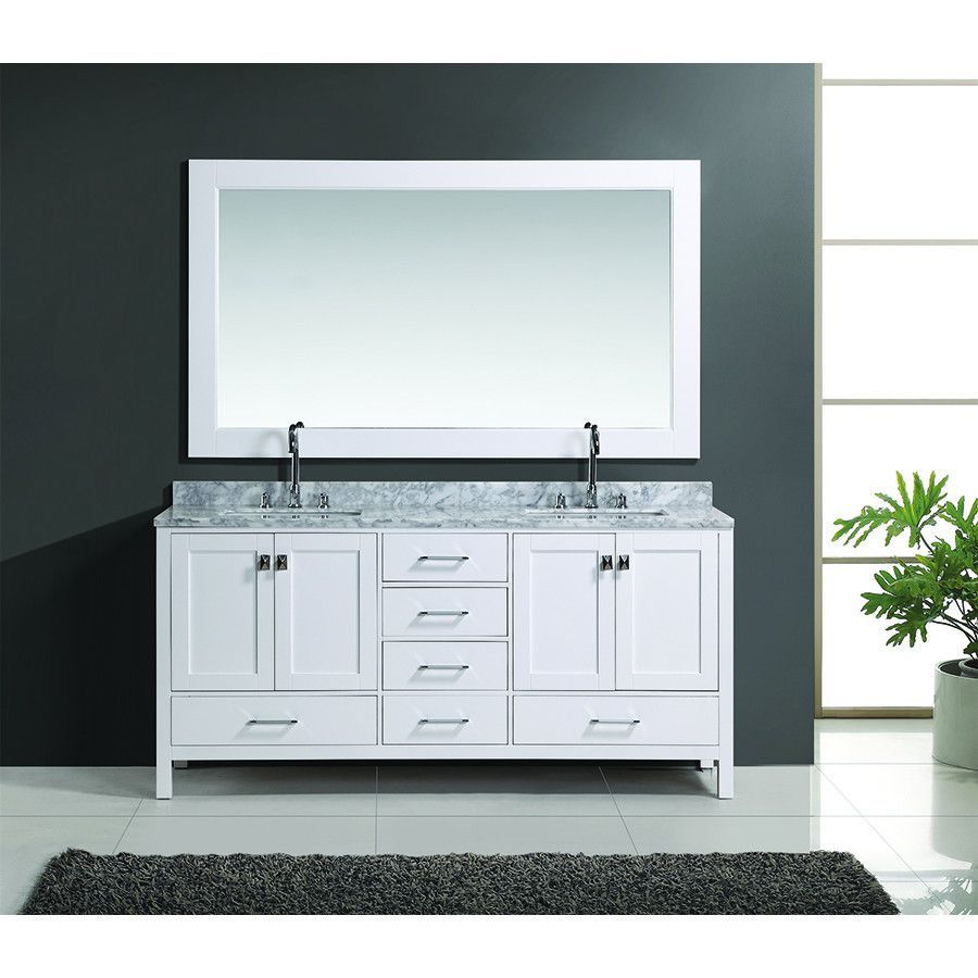 "Design Element 72"" London Hyde Double Sink Vanity Set In White Or Amazing 72 Inch Bathroom Vanity Double Sink Decorating Design"
