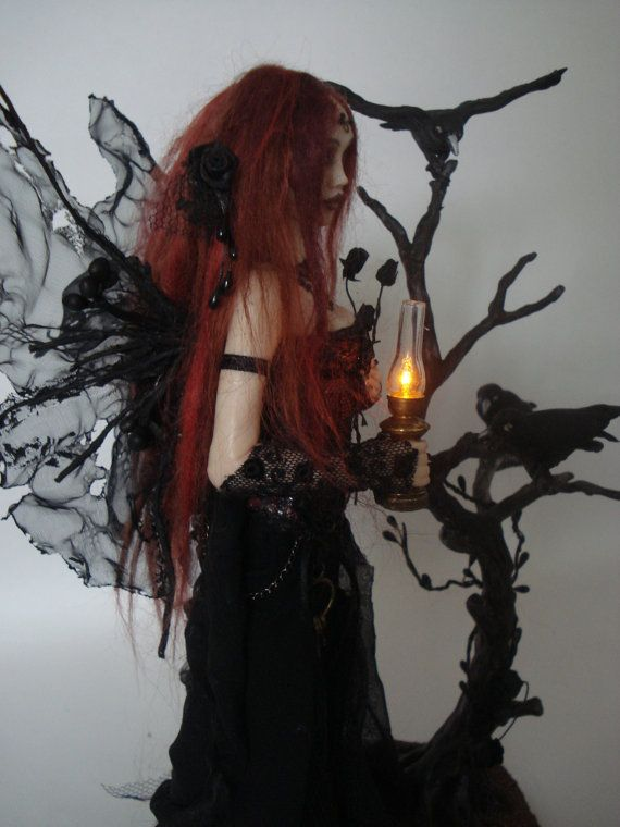 SHADOWSCULPT ooak fairy art doll goth lamp nightlight vampire fantasy polymer clay sculpture figure light up