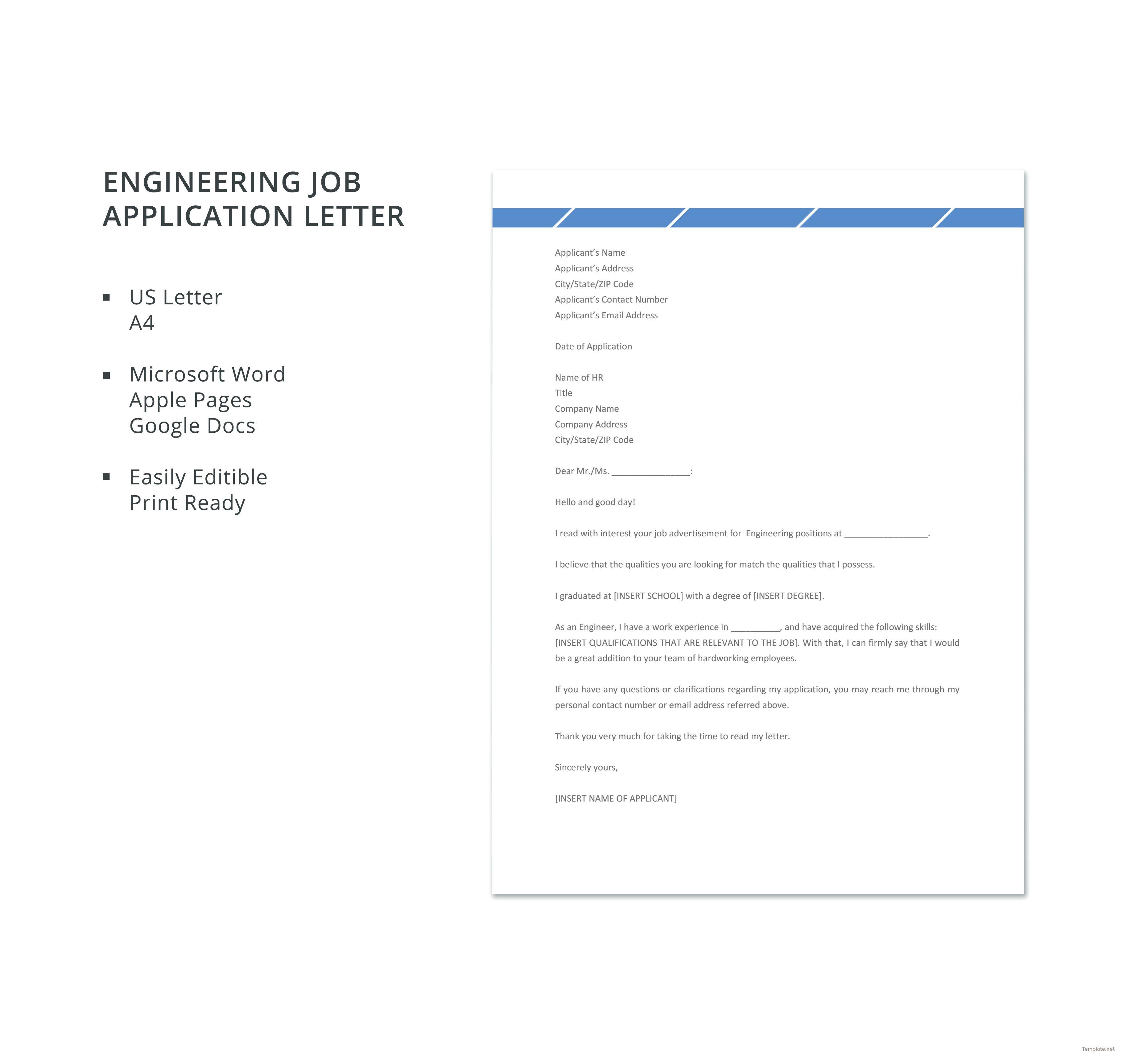 Free engineering job application letter job application