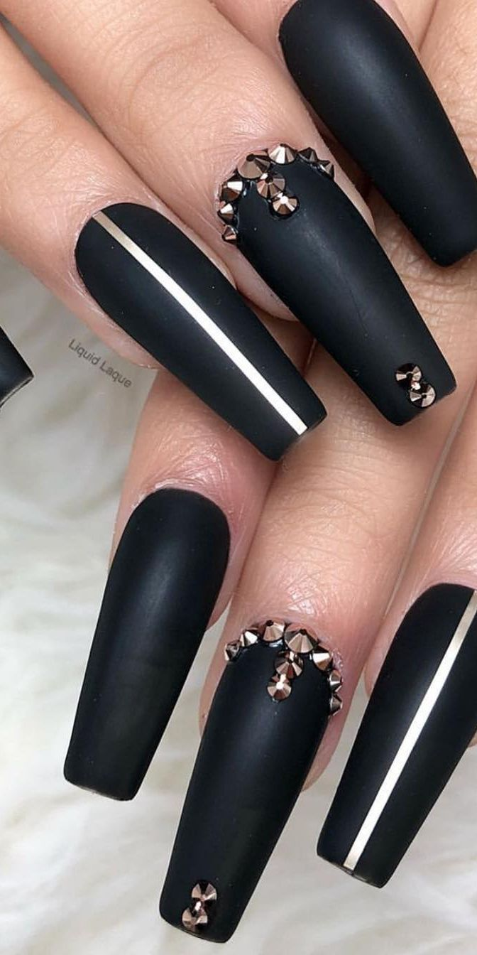 30 Creative Designs For Black Acrylic Nails That Will Catch Your Eye Black Matte Acrylic Nails Black Acrylic Nails Matte Acrylic Nails