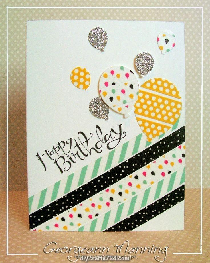 Außergewöhnliches Stampin Jede Kleinigkeit: Freche Grüße Washi Tape Balloon Birthday Card