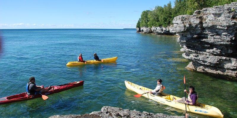 Kayaking Cave Point Door County Kayak Tours Wisconsin Travel Kayaking