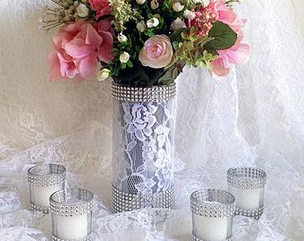 lace and rhinestone covered glass vases wedding by PinKyJubb