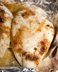 4 Chicken Breasts 2 Tbsp Olive Oil 4 Tbsp Minced Garlic 4 Tbsp Brown Sugar 1/4 c Butter  Salt and Pepper 425 deg  Heat oil over medium. add garlic. Sautee. Remove from heat   Melt butter in pan on stove.When hot, sear chicken on each side. Salt n pepper.Chicken golden brown. Remove from heat. Chicken is uncooked.  Chicken goes in a baking dish. Spoon garlic over each. Spoon Brown Sugar (1 Tbsp) lightly packing it on the chicken.   20 min  425 deg juices run clear, internal temp 165 degrees