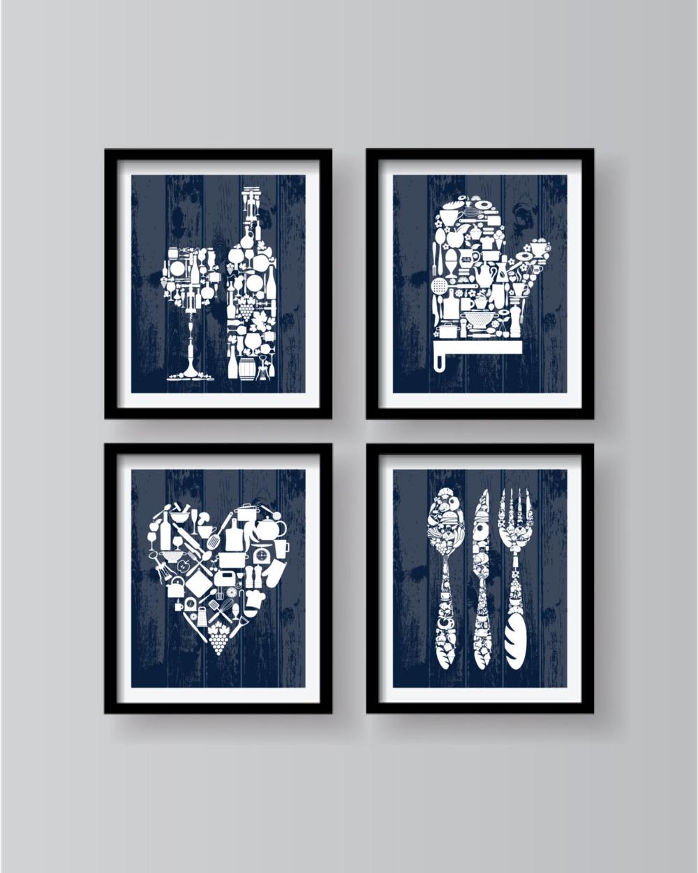 Blue Modern Kitchen Art Dining Room Wall Art Kitchen Print Etsy Modern Kitchen Art Kitchen Wall Art Kitchen Wall Art Set