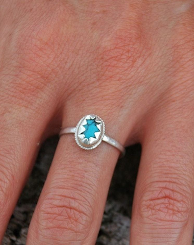 Natural Turquoise Sterling Silver Star Ring Handcut