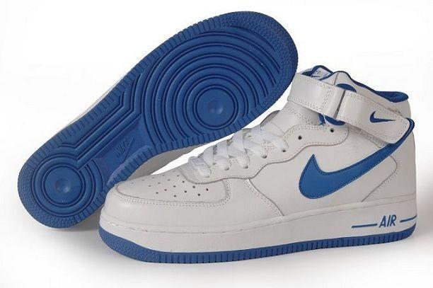 online store e0664 1c61d Femme Homme Nike Air Force 1 High Running Blanc Bleu Pas Cher