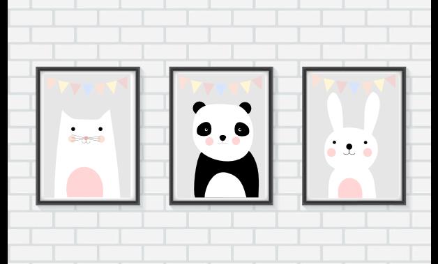 Drei Poster für das Kinderzimmer Bär , Katze und Hase