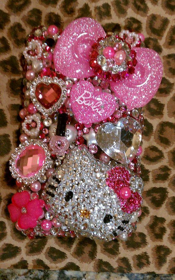 SUPER KAWAII case Pink Girly Decoden Hello by PrettyGirlCouture4u, $125.00