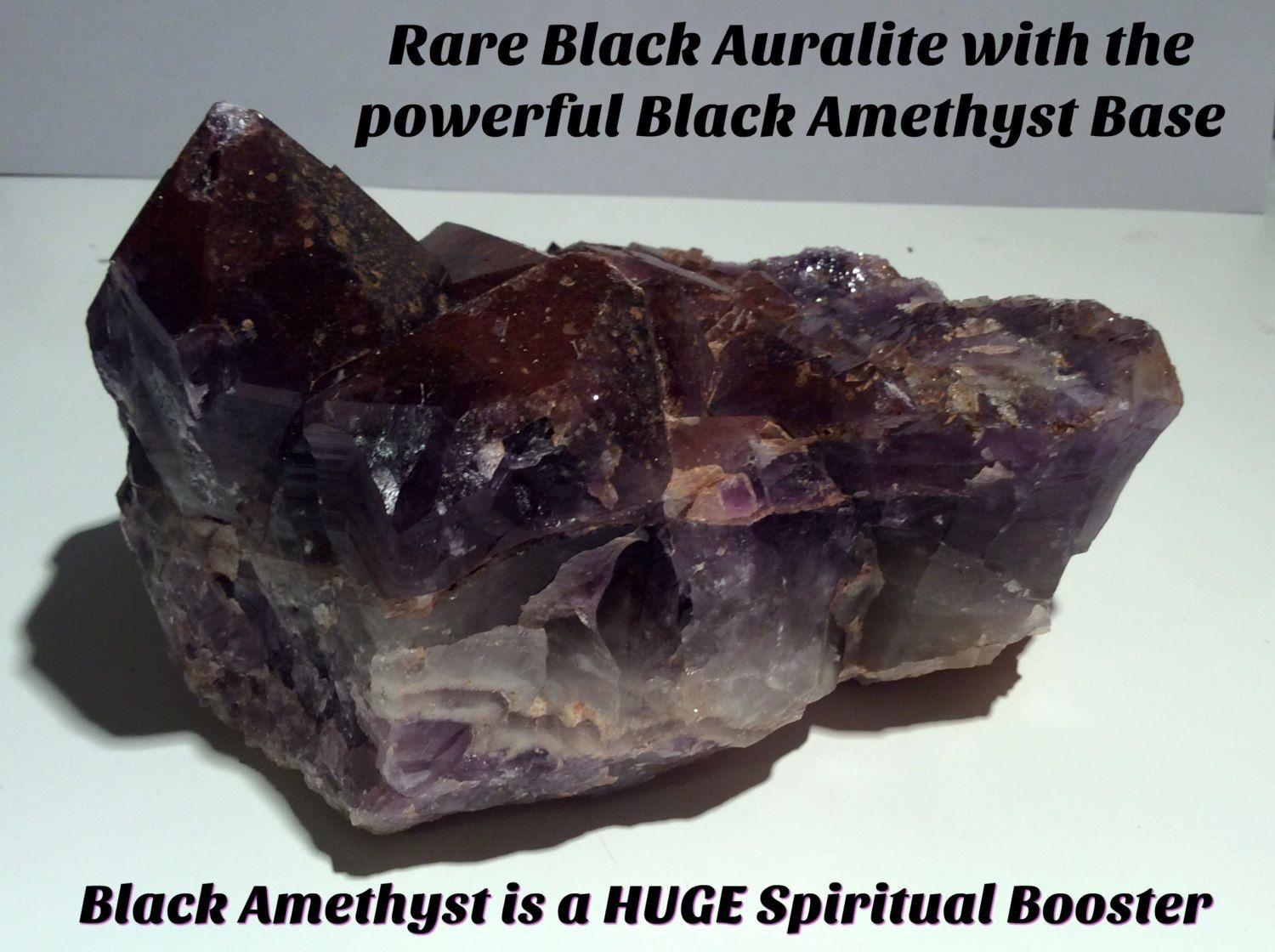SALE 40% OFF.  Self Healing Large Points Black Auralite 23 Cluster.  This is a…
