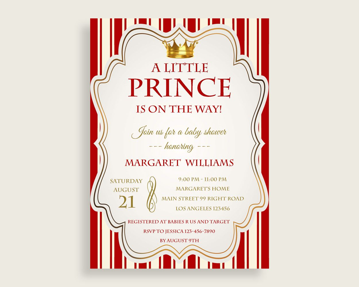 Invitation baby shower invitation prince baby shower invitation red invitation baby shower invitation prince baby shower invitation red gold baby shower prince invitation paper supplies stopboris Gallery
