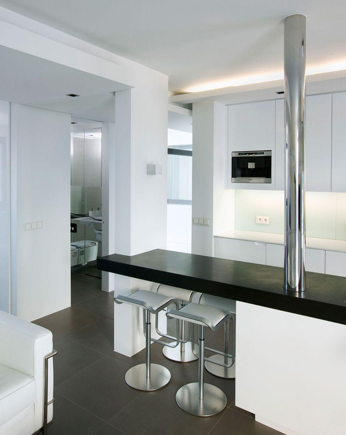 Dining Table Kitchen Island Modern Apartment In Reykjavik