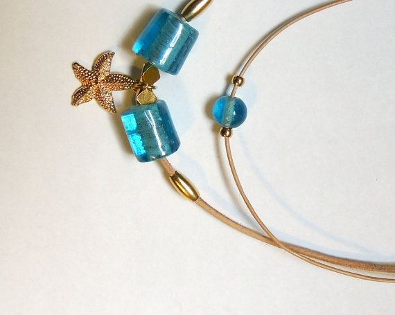 starfish necklace blue glass beads necklace  by NGTAcreations, $45.00