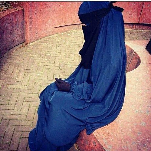 Blue Jilbab with Single Layer Niqab