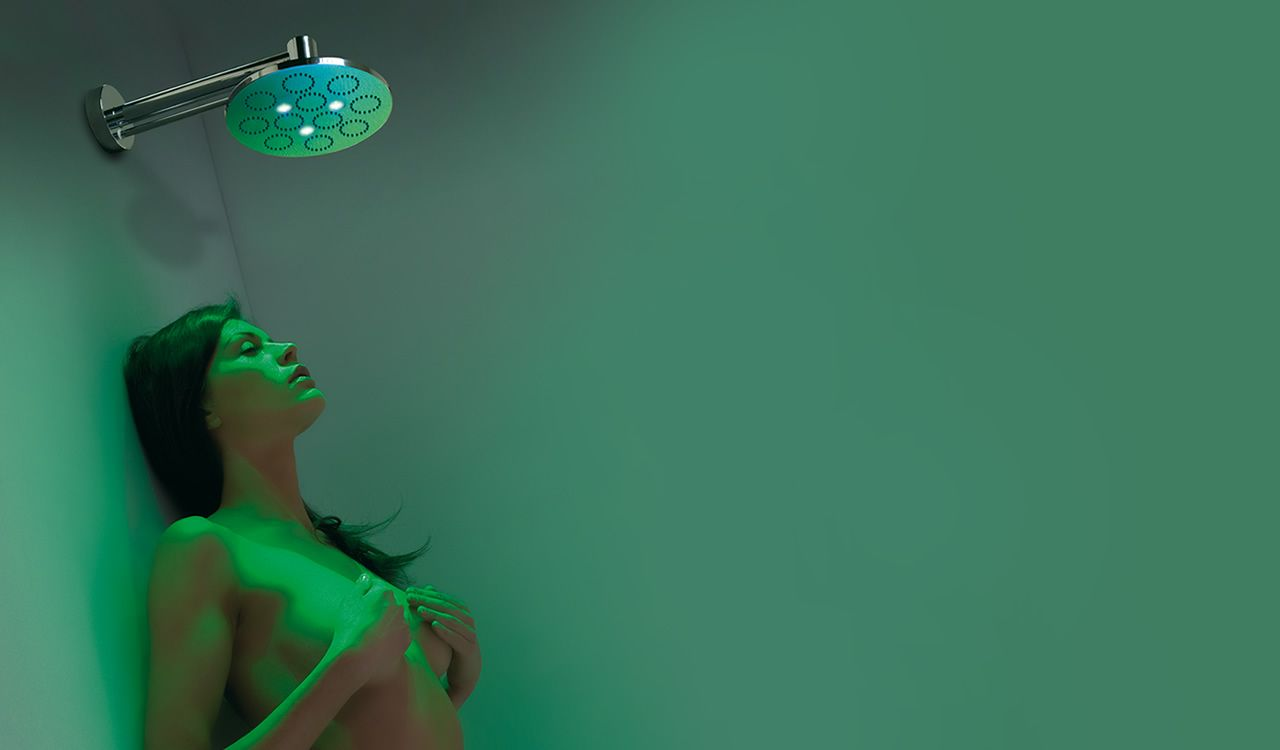 The top-end, self-powered LED color changing shower head offered ...