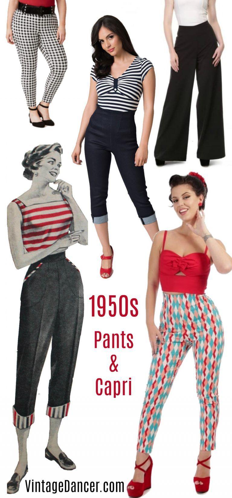 3da4a9aa6e7f 1950s pin up high waist pants and capri bottoms, 50s trousers