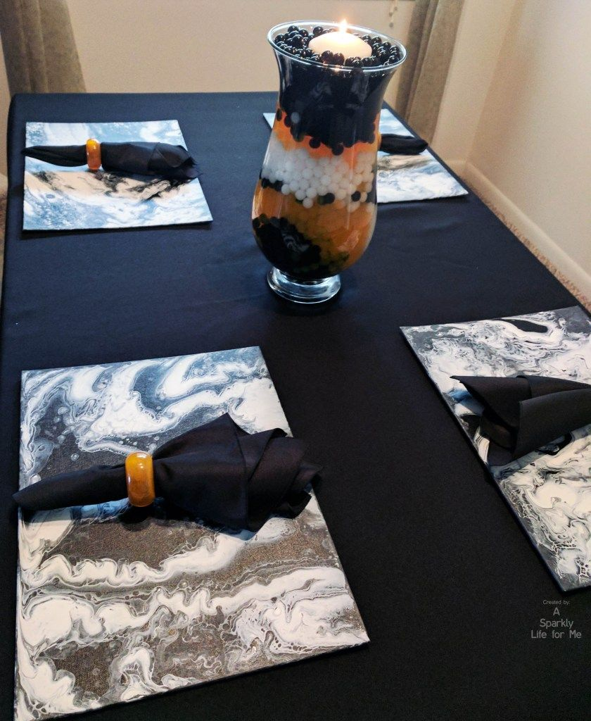 Marble Halloween Table Decor in Black White and Orange Things I\u0027ve - Halloween Table Decorations Pinterest