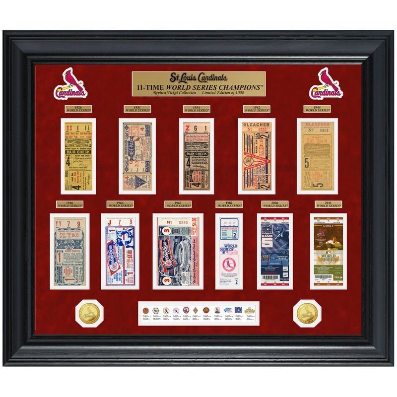 """St. Louis Cardinals Highland Mint 30"""" x 24"""" 11-Time World Series Champions Deluxe Coin & Ticket Collection Photo Mint"""