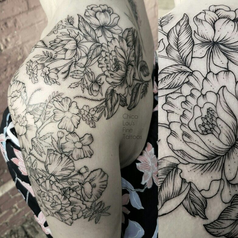 Line work blackwork floral shoulder back arm tattoo for Tattoo line work