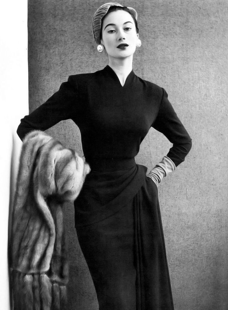 Model Is Wearing Elegant Slim Sheath Draped Artfully Around The Hip Photo By John French 1950 S In 2020 Fashion Fashion Photo Vintage Couture
