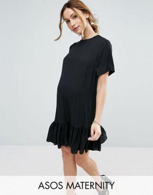 6939b41b45860 ASOS Maternity T-Shirt Dress With Ruffle Hem   Cute outfits ...