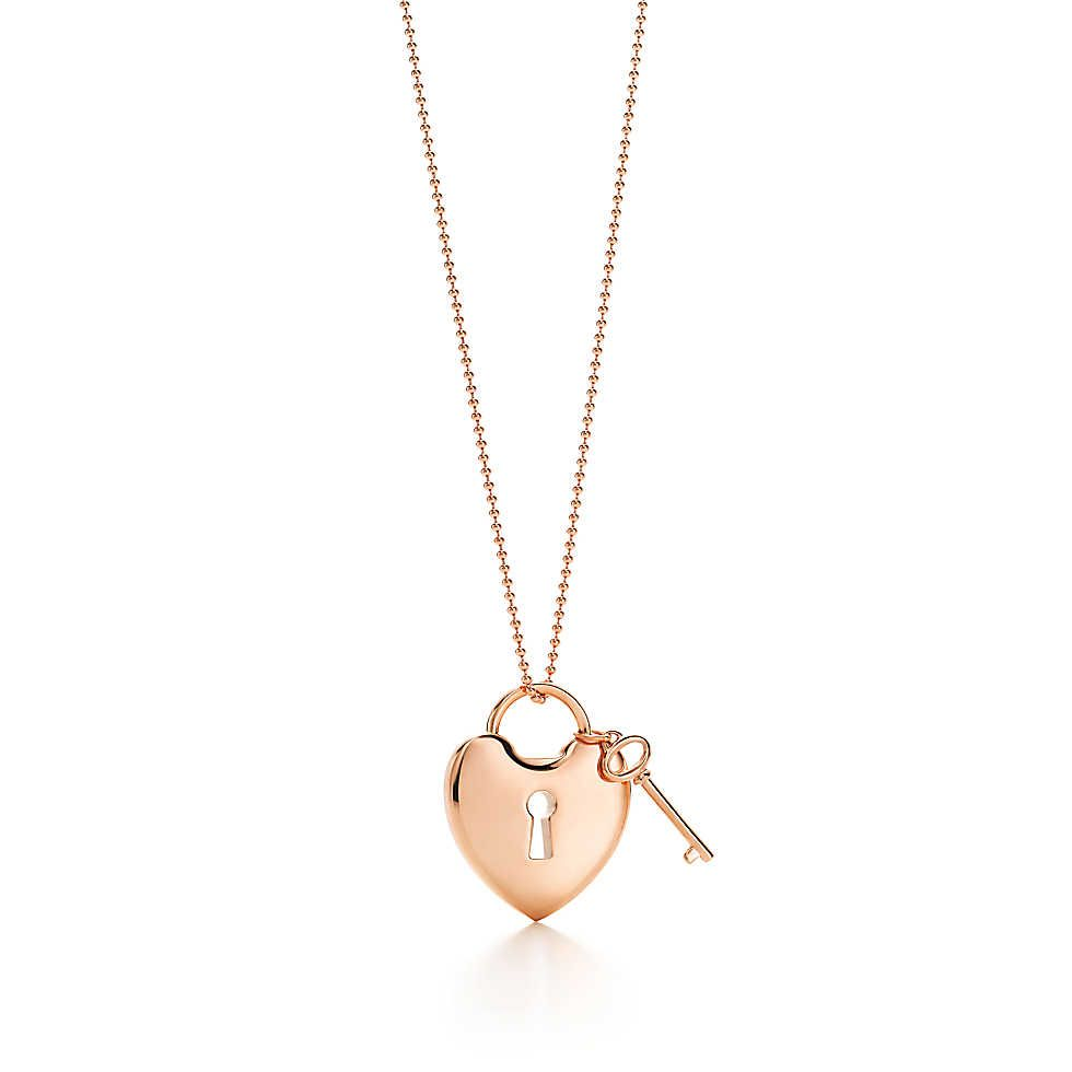 7ce30cca1b381 Tiffany Locks heart lock pendant with key in 18k rose gold ...