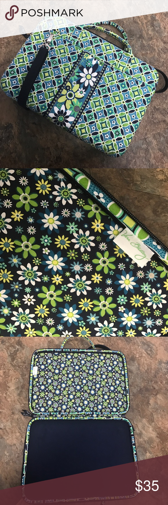 """Green & blue Vera Bradley laptop case Green & blue floral patterned Vera Bradley laptop case. Has long handle for over the shoulder and 2 small handles. Hard interior for protection. 2 large pockets on the outside. Good condition, like new. 17"""" Vera Bradley Accessories Laptop Cases"""