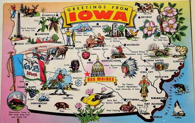 Greetings From Iowa Map Postcard Iowa Illustrated Map Map