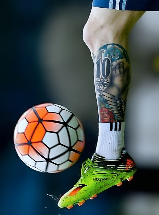świetny Tatuaż Argentyńczyka Na Podudziu Lionel Messi I
