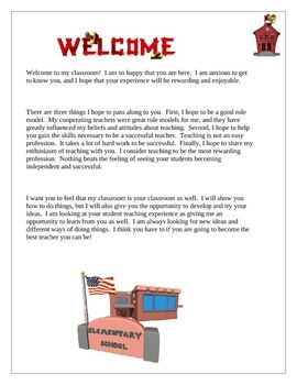 Student Teaching Teacher Welcome Letter  Student Teaching