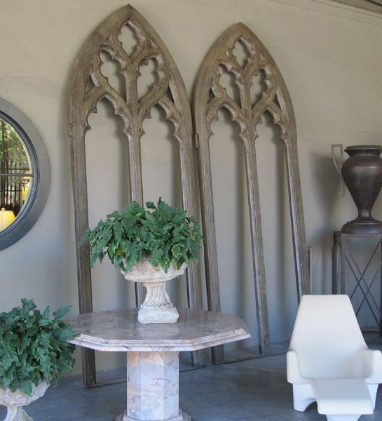 A Grand Scaled Pair Of American Gray Painted Neogothic Window Frames