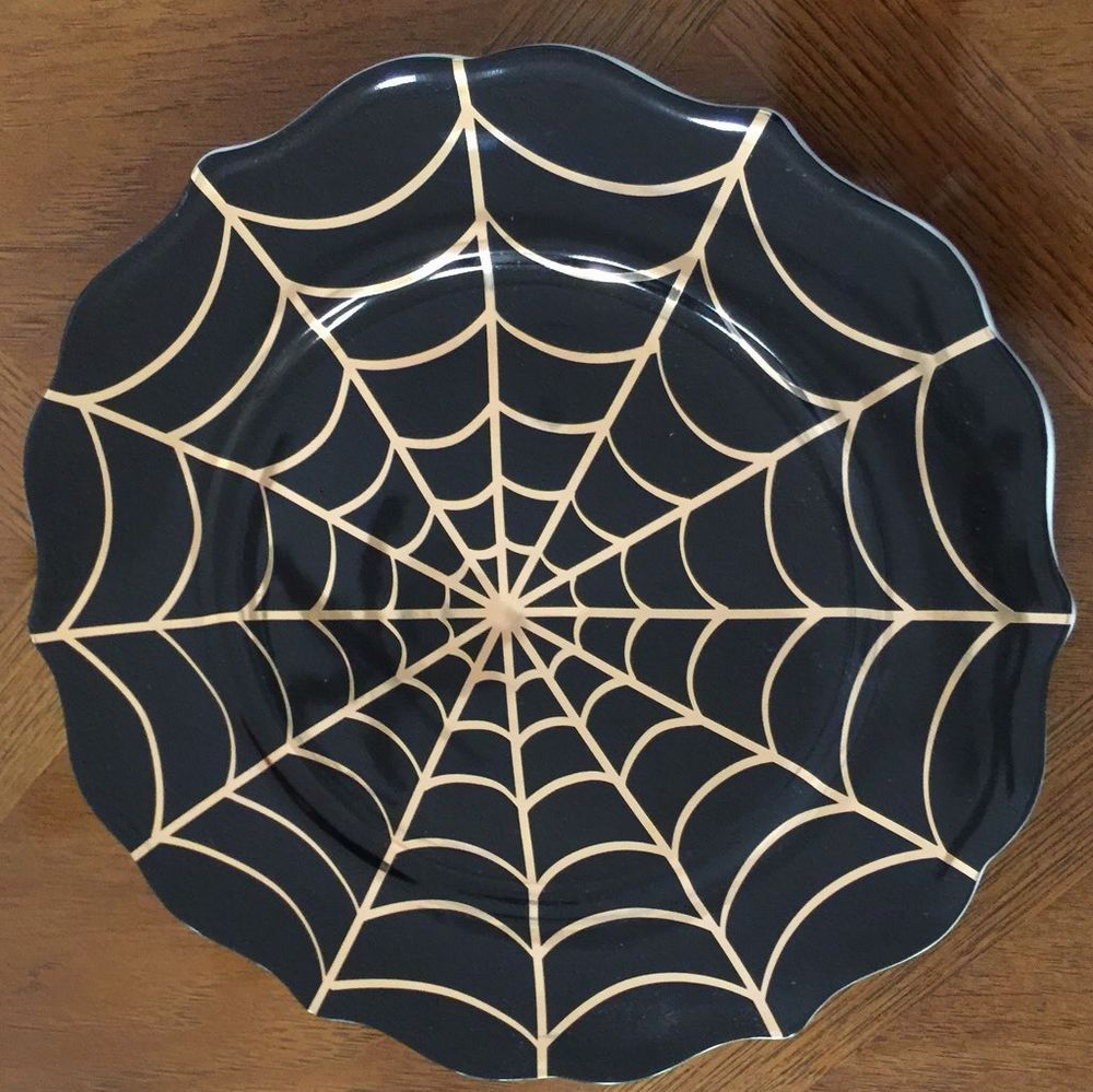 222 Fifth Golden Spiderweb Dinner Plates Set Of 4 Halloween Gold Accents 222fifth Plate Sets Halloween Tablescape Dinner Plate Sets