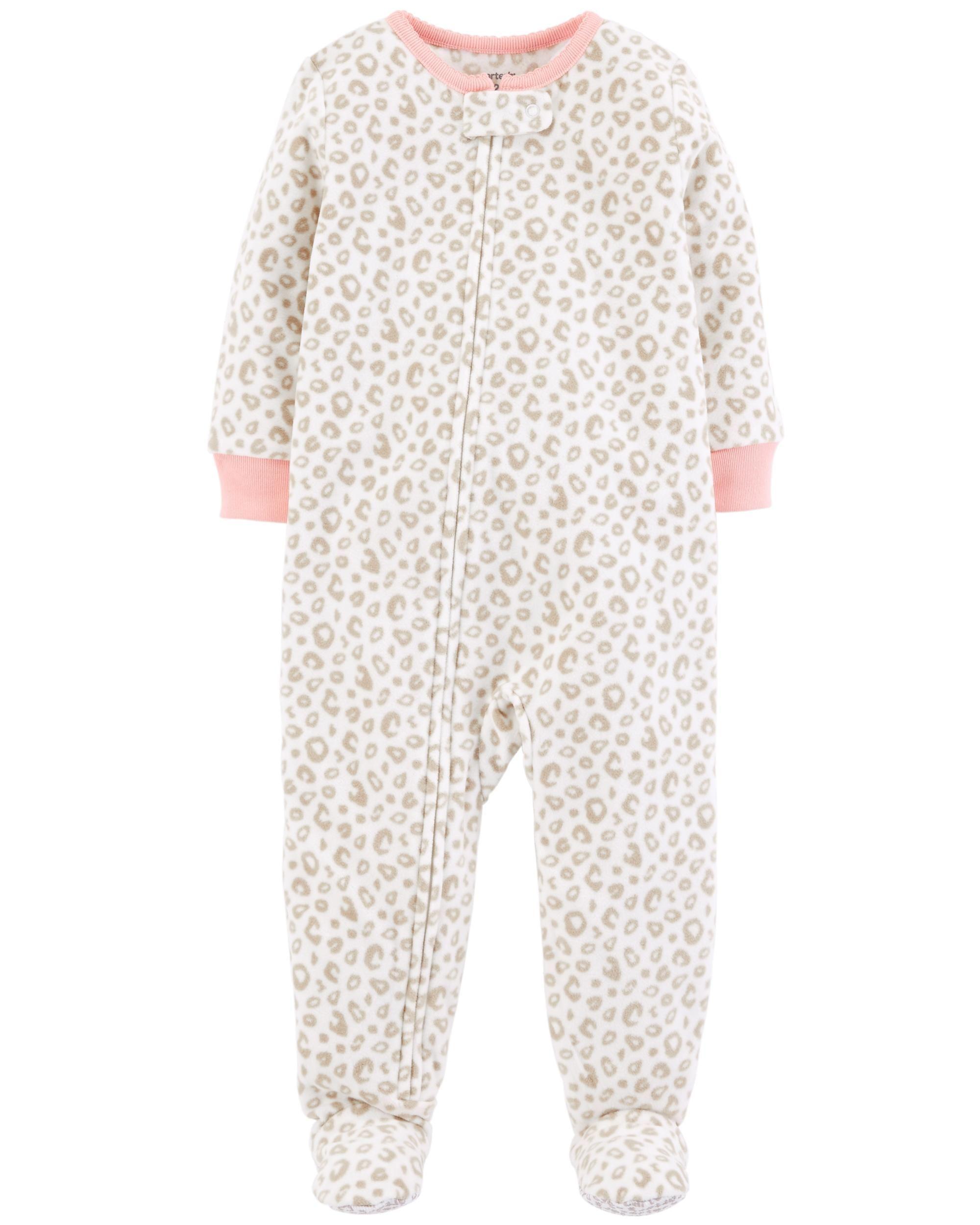 4f4baab725 Baby Girl 1-Piece Leopard Fleece PJs