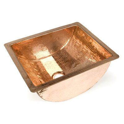 Photo of D'Vontz Copper Bathroom Sinks Metal Rectangular Undermount Bathroom Sink Finish: Shiny Copper