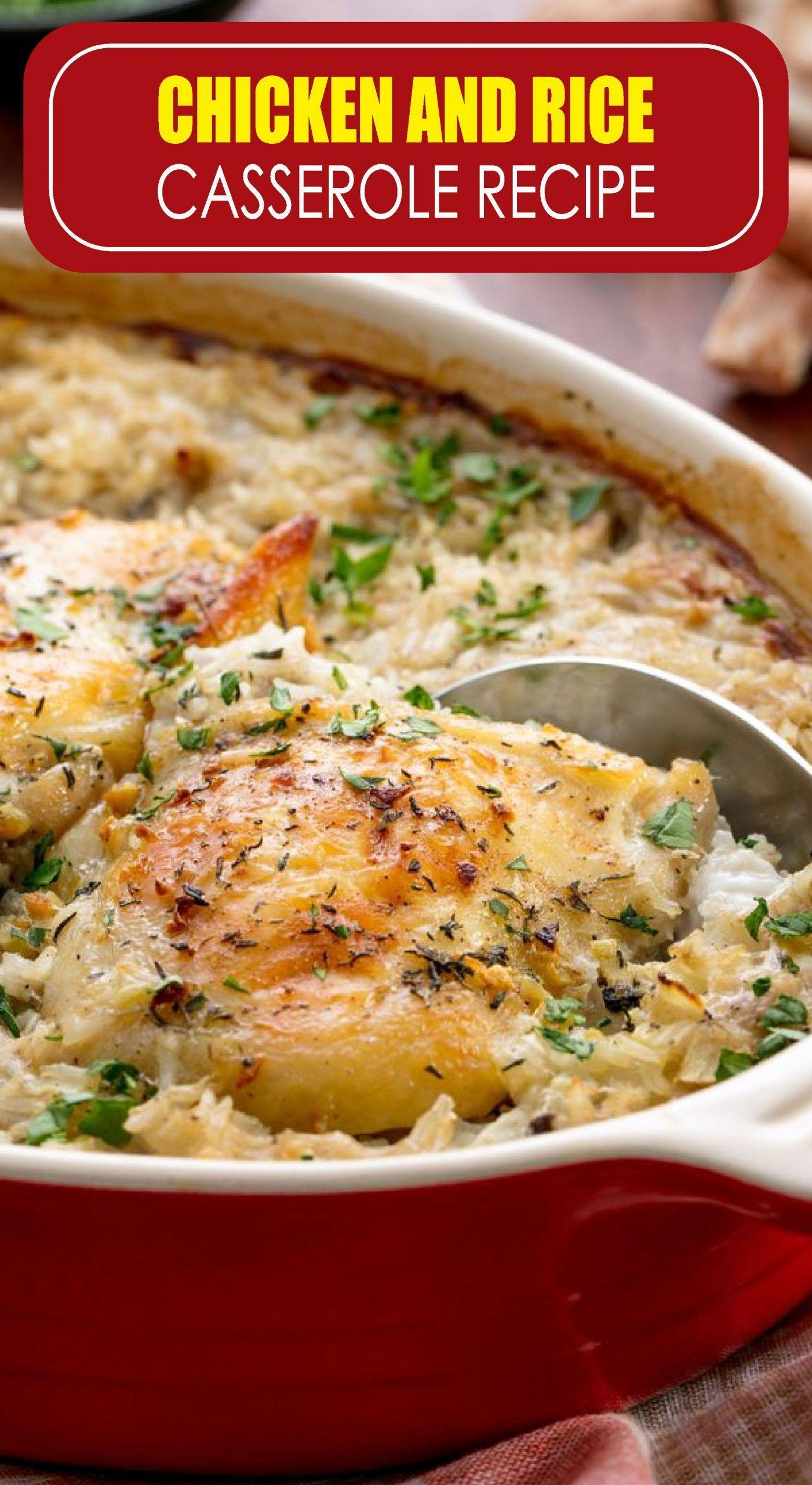 Chicken And Rice Casserole Recipe Rice Recipes Casserole Recipes Rice Casserole Recipes Chicken Recipes Casserole