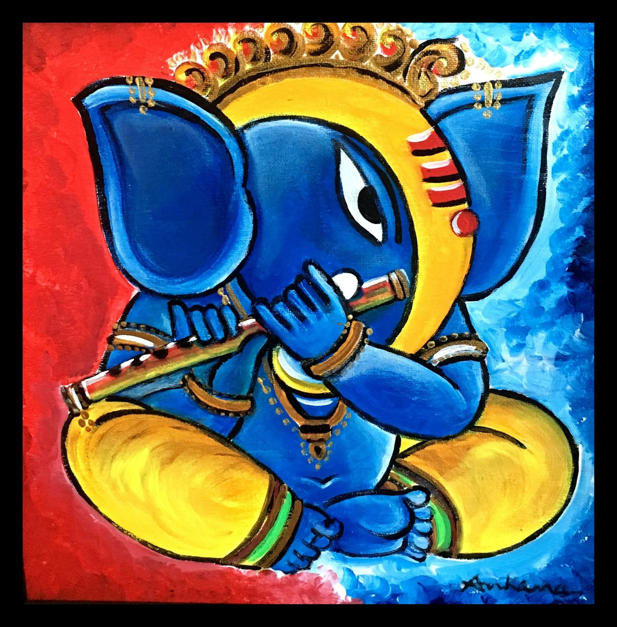 Lord Ganesha, Canvas Paintings, Contemporary Art, Contemporary Artwork, Painted Canvas,